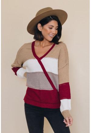 Multicolor Color Block Deep V Neck Wrap Sweater