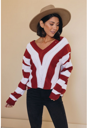 Striped Colorblock V Neck Knitted Sweater