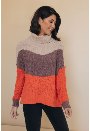 Cowl Neck Colorblock Cable Knit Sweater