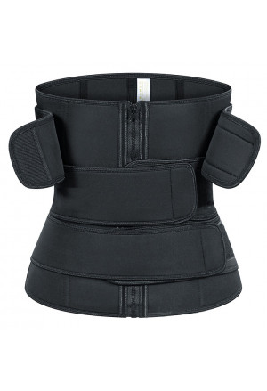 Unisex Black Neoprene Waist Trimmer Shaper Belt