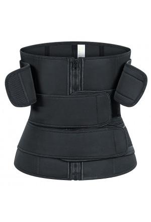 Unisex Black Neoprene Waist Trimmer Shaper Belt