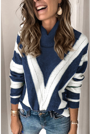 Striped Color Block Turtleneck Knitted Sweater