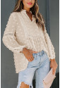 Ruffled Split Neck Lace Hollow Out Puff Sleeve Polka Dot Blouse