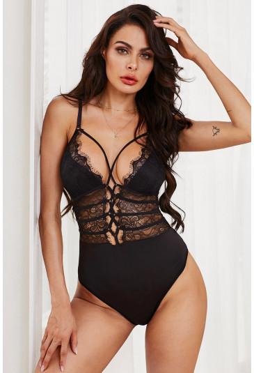 Black Sheer Lace up Bodysuit
