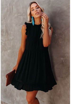 Pocketed Ruffle Babydoll Dress