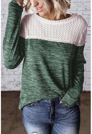 Colorblock Crochet Hollow Out Long Sleeve Top