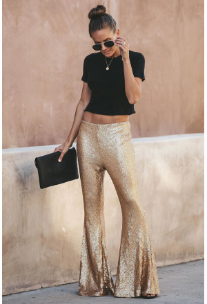 Sequin Bell Bottom Fashion Pants