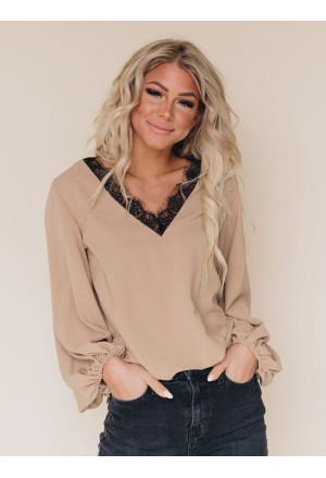 Lace V Neck Balloon Sleeves Top