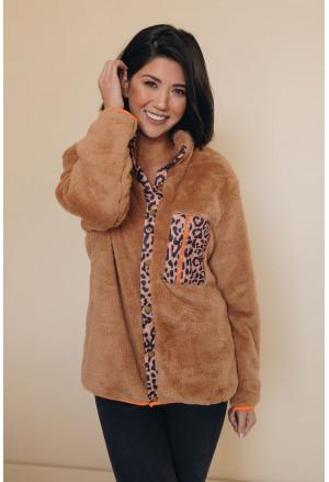 Apricot Leopard Patchwork Buttoned Fleece Coat
