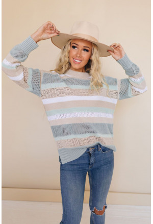 Colorful Striped Crew Collar Hollow-out Knit Sweater