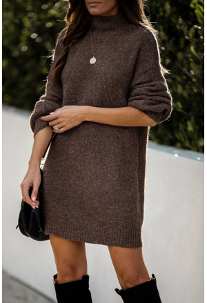 Mock Neck Lantern Sleeves Sweater Dress