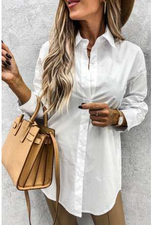 White Curved Hem Dropped Sleeve Button Closure Basic Blouse
