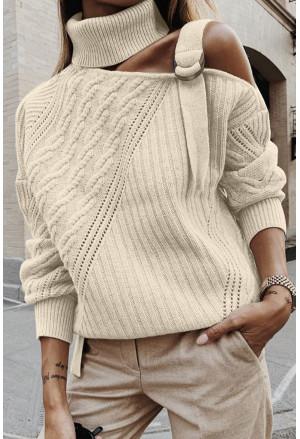 Strapped Cut out Shoulder Turtleneck Sweater