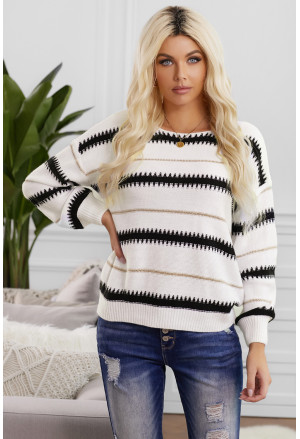 Striped Loose Fit Pullover Sweater