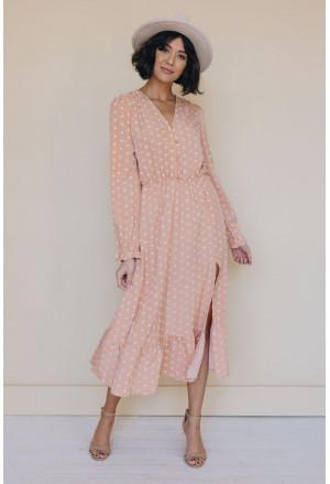 Button Polka Dot High Slit Ruffled Midi Dress