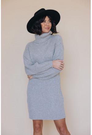 Turtleneck Balloon Sleeve Sweater Dress