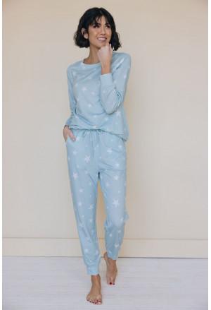 Star Print Pocket Drawstring Pajama Set