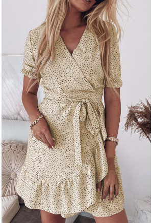 Bohemian Dotted Print Wrap V Neck Ruffled Mini Dress