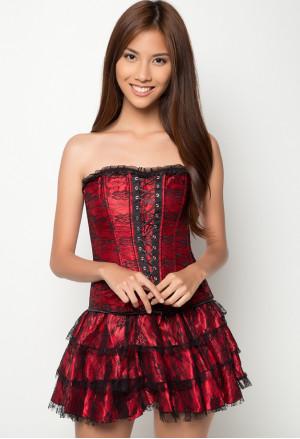 Corset red flamengo dress Carmen