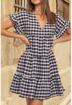 Ruffled Short Sleeves Plaid Print Tiered Swing Dress