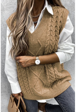 Sleeveless Cable Knitted Sweater Tank