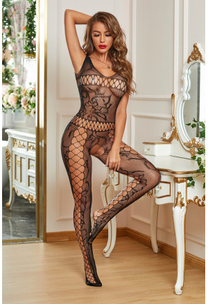 Fishnet Mesh Open Crotch Full Toe Bodystocking