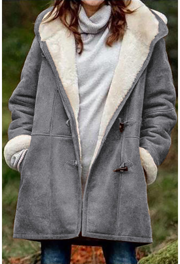 Long Sleeve Hooded Buttons Pockets Duffle Coat
