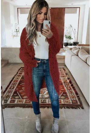 Fuzzy Knit Cardigan with Pockets