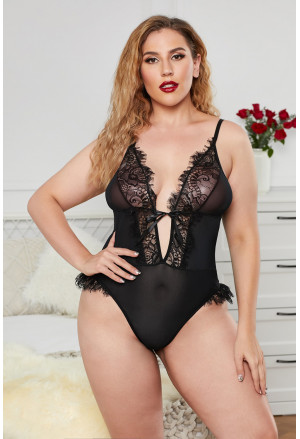Eyelash Trim Deep V Neck Mesh Plus Size Teddy Lingerie