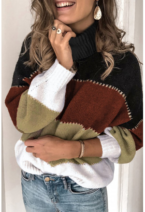 Color Block Turtleneck Chunky Knit Sweater