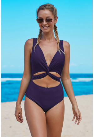 Twisted Ruched Hollow Out One-piece Swimwear