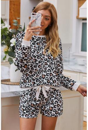 Leopard Long Sleeve Shorts Lounge Set