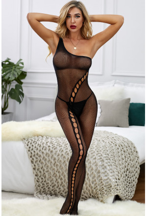 One-shoulder Keyhole Hollow-out Mesh Fishnet Bodystockings