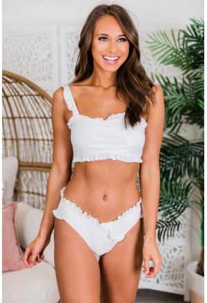 Flounced Bandeau Bikini with Straps