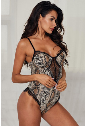 Spaghetti Strap Backless Printed Teddy