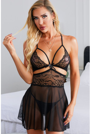 Obsessive Lace Nightdress and Thong Set