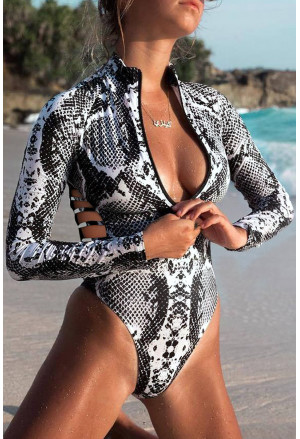 Animal Print Zipper Cut-out Rash Guard Swimsuit