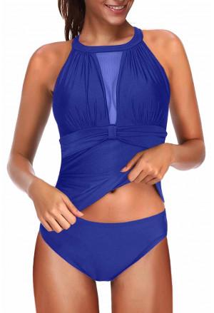 High Neck Plunge Mesh Ruched Tankini Swimwear