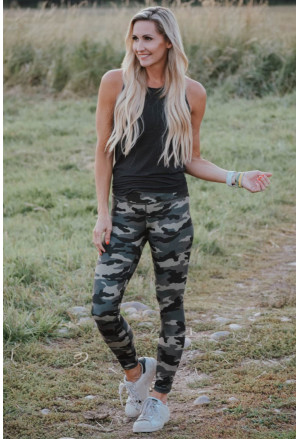 Mid Waist Ankle-length Camouflage Leggings