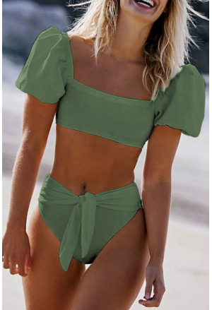 Sexy Bubble Sleeves High Waist Bikini