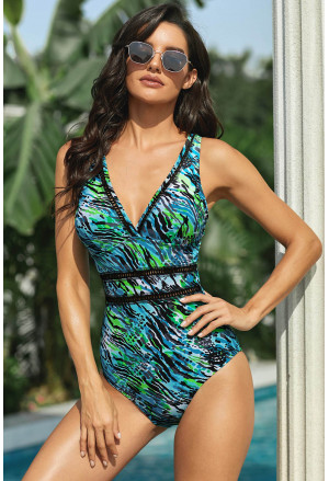 Print Lattice Plunge One Piece Swimsuit