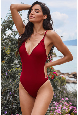 V Neck One Piece Swimsuit