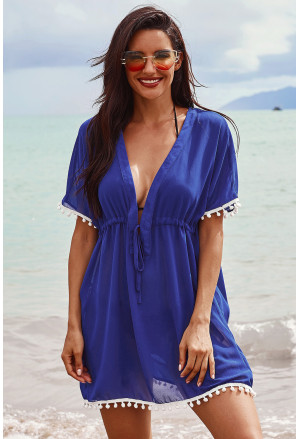 Deep V Neck Pom Pom Beach Tunic