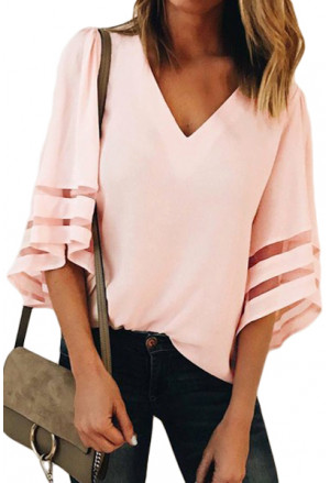Flare Sleeve V Neck Loose Blouse
