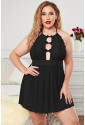 Halter Neck Lace Mesh Backless Plus Size Babydoll