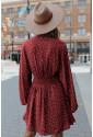 V Neck Balloon Sleeve Smocked Waist Printed Mini Dress
