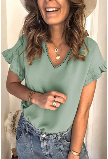 V Neck Ruffle Short Sleeve T-shirt