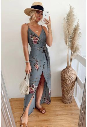 Floral Wrap Maxi Dress With Slit