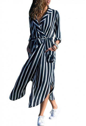 Notch Lapel Belted Shirt Dress