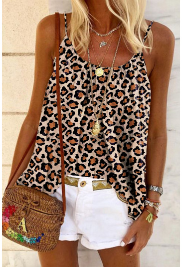 Leopard Print Spaghetti Strap Pleated Flowing Tank Top